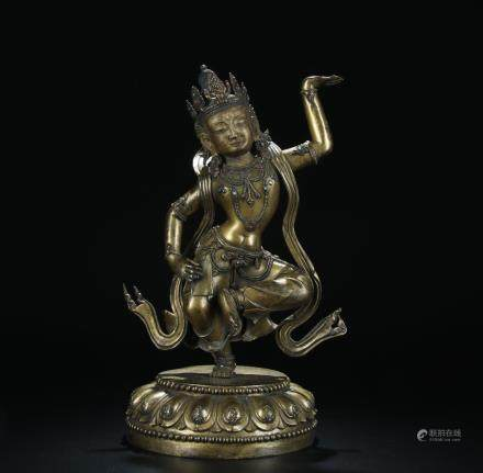 GILT BRONZE GEMSTONE INLAID BUDDHA STATUE
