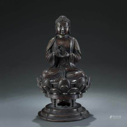 SILVER BRONZE SEATED FIGURE STATUE OF SAKYAMUNI