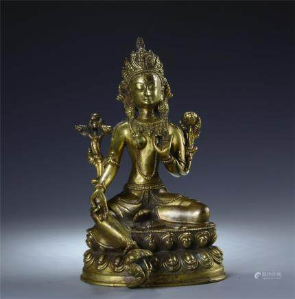 GILT BRONZE FIGURE STATUE OF TARA BUDDHA