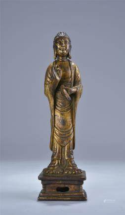 GILT BRONZE STANDING FIGURE STATUE OF SAKYAMUNI