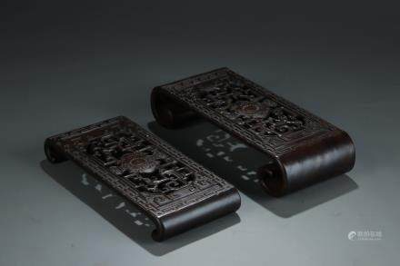 TWO FINE CARVED ROSEWOOD INK REST
