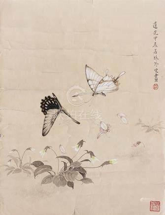 梁若珠  花蝶圖