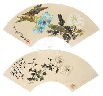 劉玉笙  花卉扇面二幅