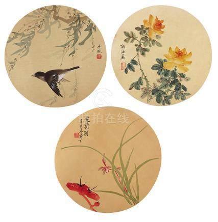 李鳳公、陳琳、陳語海  花鳥團扇三幅