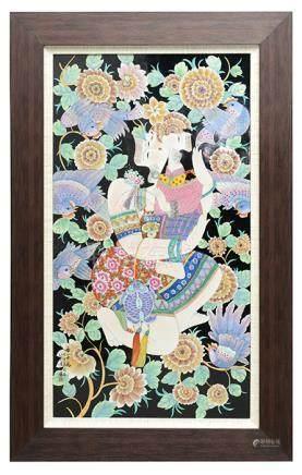 2007年 蔡玲玲 粉彩'母子情'瓷板硬木掛屏 (附證書、蔡玲玲陶瓷藝術書籍)