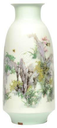 2004年 陳小青 粉彩'芳草地'瓶 (龔循明落款) (附證書)