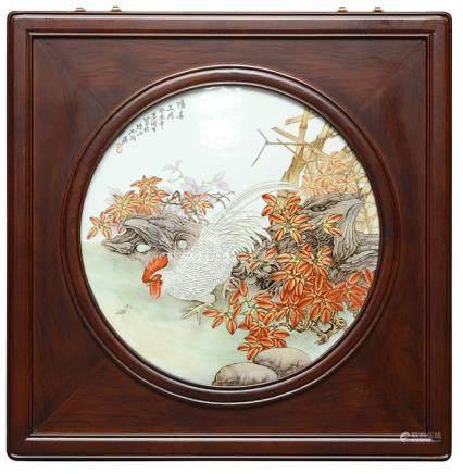2003年 黃周生 粉彩'陽春三月'瓷板硬木掛屏 (附證書)