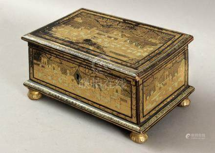 First half of 20th century Cantonese lacquer jewellery box