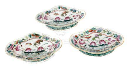 Three 19th century Chinese Qing-Tongzhi Famille Rose porcelain offering trays