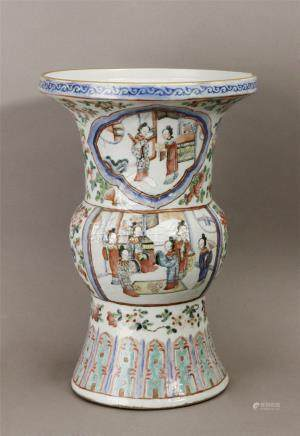 Early 20th century Chinese Gu Vase in Famille Rose porcelain