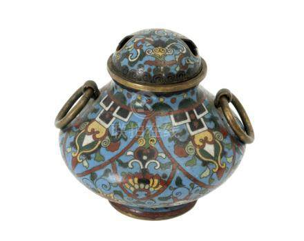 A 20th century Chinese bronze and cloisonné enamel censer