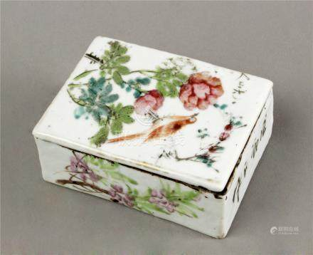 20th century Chinese Republic period porcelain ink box
