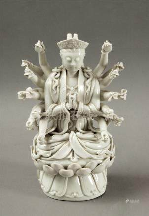 First half of 20th century Chinese Republic period Guanyin figure in Blanc de Chine porcelain