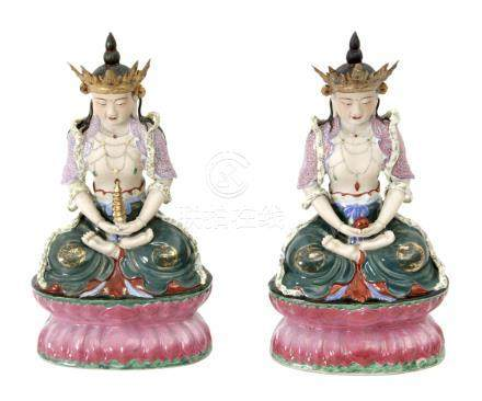 Pair of Chinese Buddha figures in polychromed porcelain circa 1950