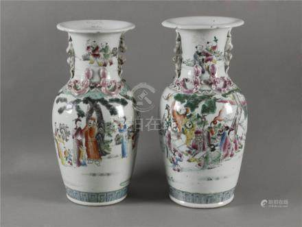 Pair of first half of 19th century vases in Famille Rose porcelain