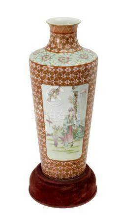 20th century Chinese Xiangtuiping vase in Famille Rose porcelain