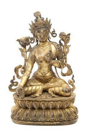 Late 19th century-early 20th century Tibetan school. Seated Buddha sculpture in gilt bronze