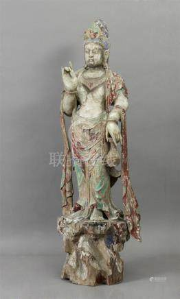 15th century Chinese school. Ming period Guanyin sculpture in carved and polychromed wood