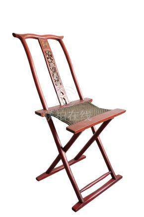 RED LACQUER FOLDING CHAIR