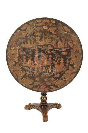 LACQUERED CHINOISERIE TILT-TOP OCCASIONAL TABLE
