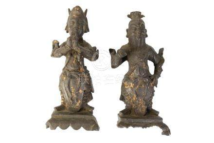 PAIR OF BRONZE FIGURES OF OFFICIALS, MING DYNASTY
