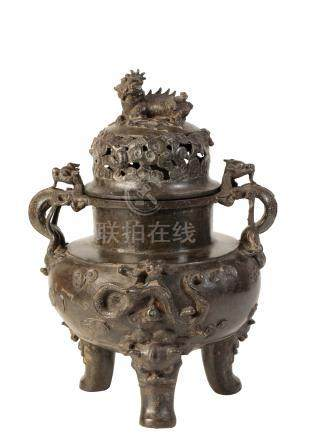 LARGE BRONZE 'DRAGON AND PHOENIX' CENSER AND COVER