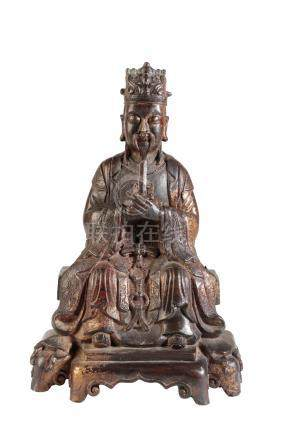 BRONZE SEATED DAOIST FIGURE, MING DYNASTY