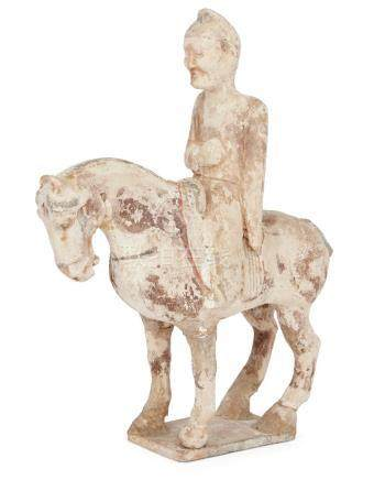 A Chinese pottery painted figure of a horse and rider, Sui dynasty, the horse standing four