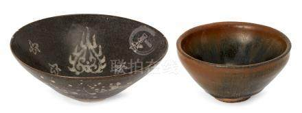 A Chinese grey stoneware 'hare's fur' tea bowl, 11.5cm diameter, and a black glazed conical bowl
