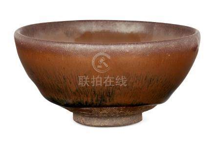 A Chinese pottery 'hare's fur' teabowl, Song style, 20th century, 9cm diameter, with Japanese wood