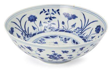 A Chinese porcelain 'lotus pond' bowl for the Tibetan market, Lança symbol mark to base, possibly