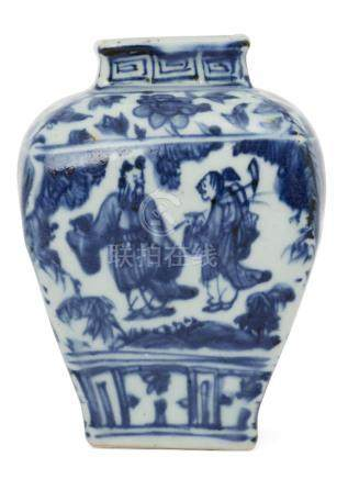 A Chinese porcelain square baluster vase, Jiajing mark and of the period, painted in underglaze blue