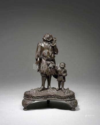GROUPE EN BRONZE, Japon, circa 1900-1910