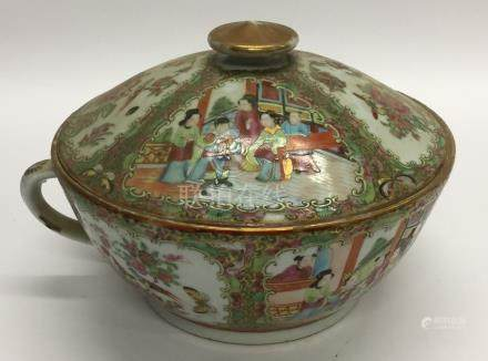 A massive Canton bowl and cover attractively decor