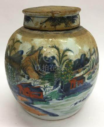 A Chinese ginger jar and cover painted with a lake