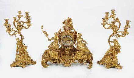 IMPORTANT 19TH-CENTURY FRENCH ORMOLU CLOCK GARNITURE