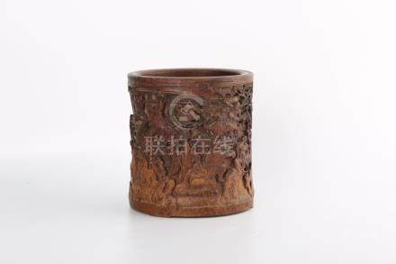 A BAMBOO CARVING OF 18 LUOHANS BRUSHPOT.BITONG.ANTIQUE