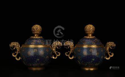 A PAIR OF CLOISONNE ENAMEL DRAGON JAR AND COVERS.MARK OF QIA