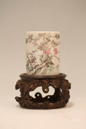 A FAMILLE-ROSE ' PLUM BAMBOO.PINK ' BRUSHPOT.BITONG.QING DYN
