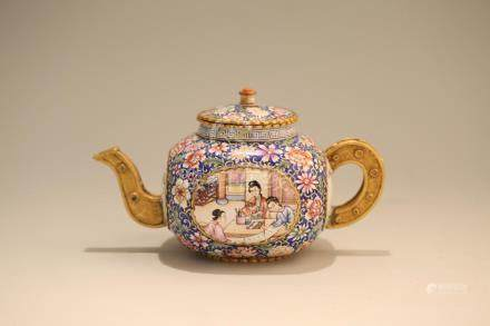 A GILT-BRONZE ENAMELLED'FIGURE' TEAPOT AND COVER.ANTIQUE