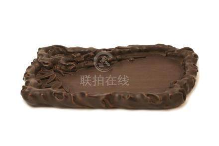A CARVED ZITAN 'BAMBOO,PLUM,PINE TREE' WASHER.ANTIQUE