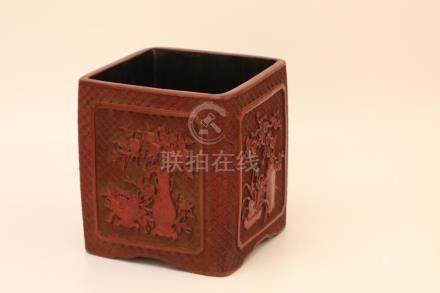 A CARVED CINNABAR LACQUER SQUARE BRUSHPOT.BITONG.MARK OF QIA