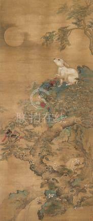 明 黃荃(款)玉兔望月圖設色絹本