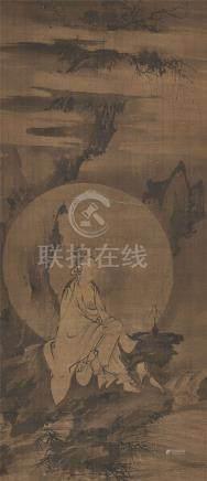 元/明 無款(前傳張月湖)水月觀音水墨絹本
