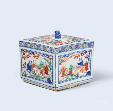 明萬曆 五彩嬰戲圖方蓋盒