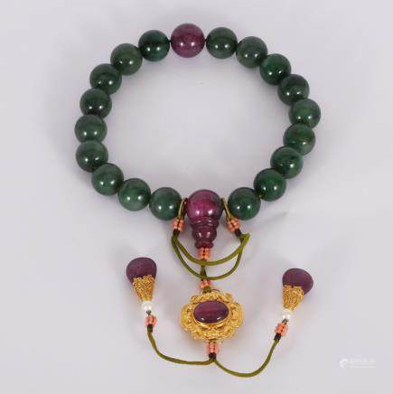 CHINESE SPINACH JADE BEADS BRACELET