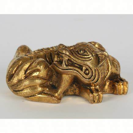 CHINESE GILT BRONZE BEAST SCHOLAR WEIGHT