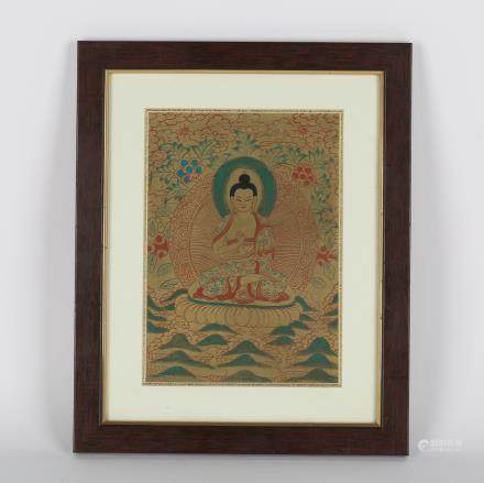 CHINESE FRAMED THANGKA PAINTING