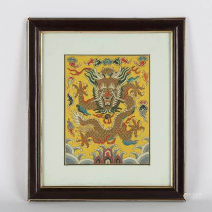 CHINESE FRAMED EMBROIDERY DRAGON