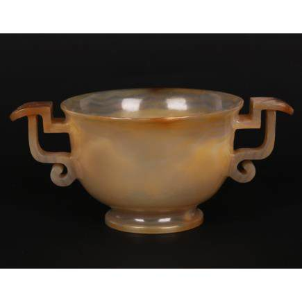 CHINESE AGATE CARVED TWIN HANDLES CUP
